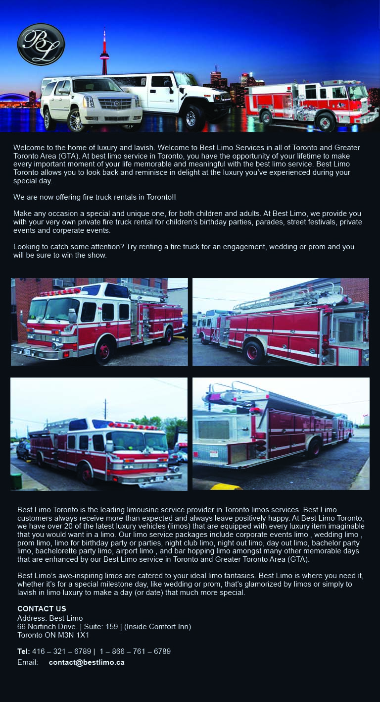 TORONTO FIRE TRUCK LIMO RENTAL